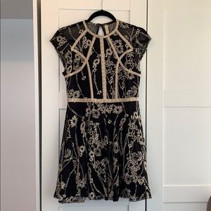 Free People Tunic Dress - black w/ floral details